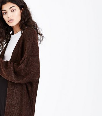Brown Balloon Sleeve Cardigan New Look