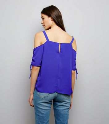 Tall Purple Ruched Sleeve Cold Shoulder Top New Look