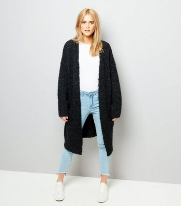 Black Boucle Oversized Cardigan New Look