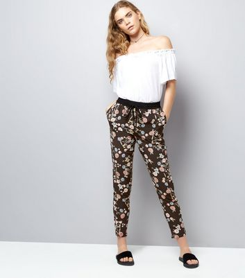 Tall Black Floral Print Joggers New Look