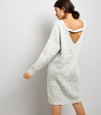 Pale Grey Bar Back Jumper Dress New Look