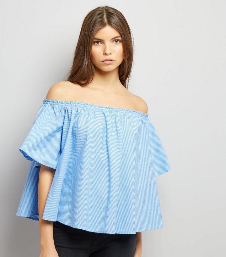 f65474167ac4b Blue Stripe Bardot Top