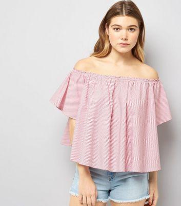 Pink Stripe Bardot Top New Look
