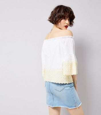 White Contrast Trim 3/4 Sleeve Bardot Neck Top New Look