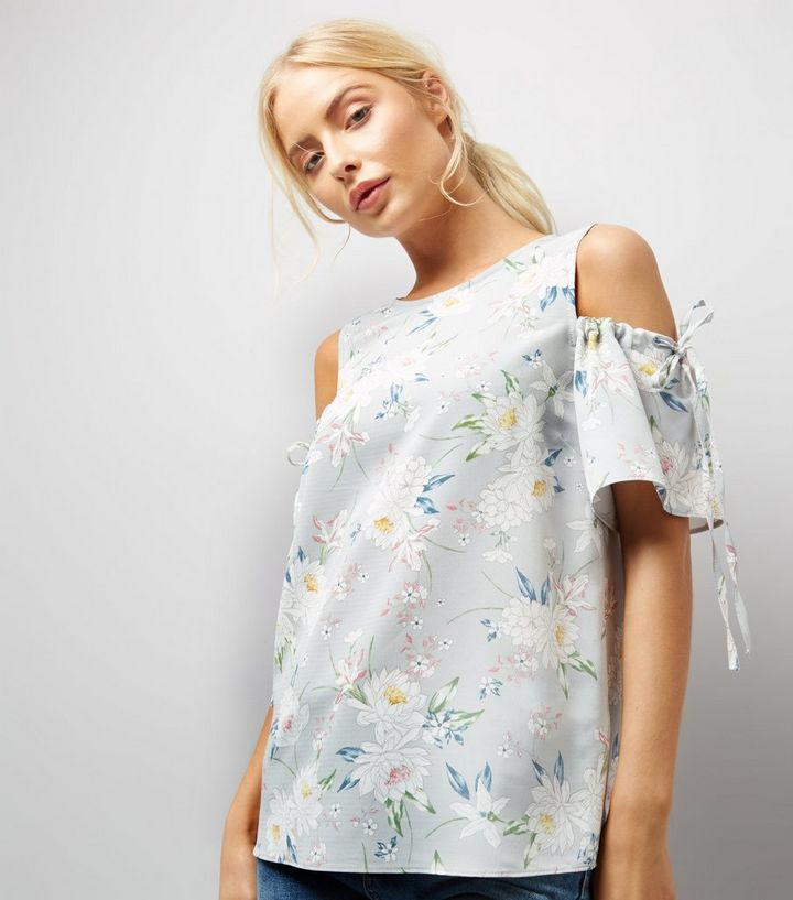 8416dfa310a39 Tall Grey Floral Print Ruched Sleeve Cold Shoulder Top