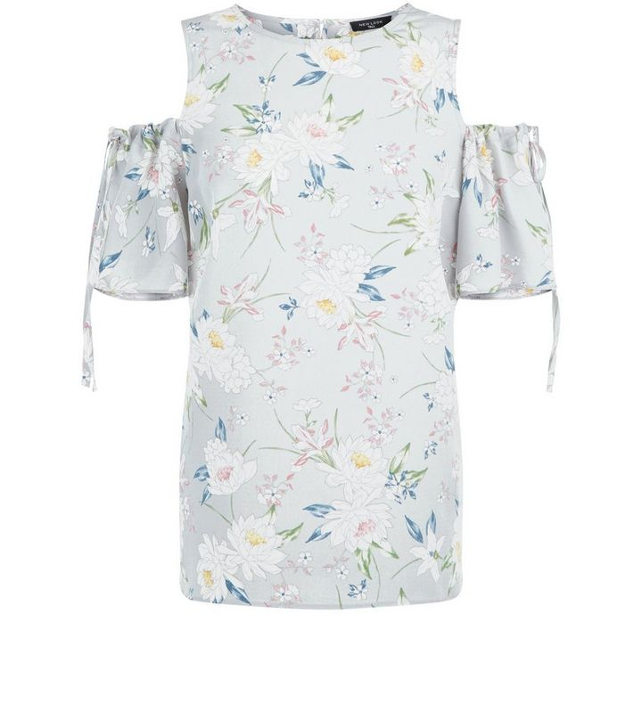 66e3f629889 ... Tall Grey Floral Print Ruched Sleeve Cold Shoulder Top. ×. ×. ×. Shop  the look