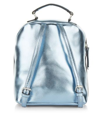 Blue Pocket Front Mini Backpack New Look