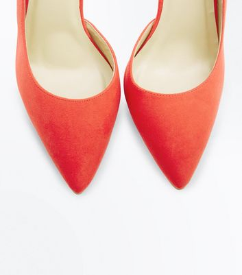 Red Suedette Ankle Strap Pointed Court Shoes New Look