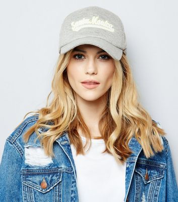 Grey Santa Monica Embroidered Cap New Look