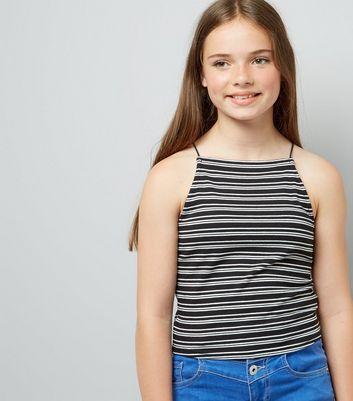 Teens Black Contrast Stripe Cami New Look