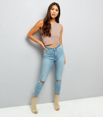 Light Brown Off the Shoulder Crop Top New Look