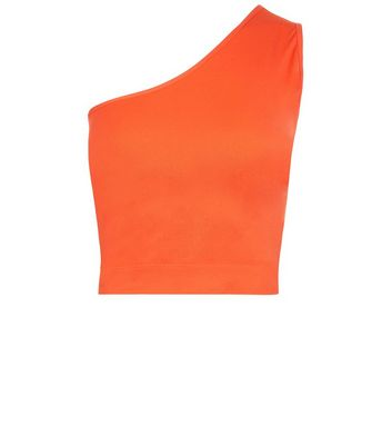 Bright Orange Off the Shoulder Crop Top New Look