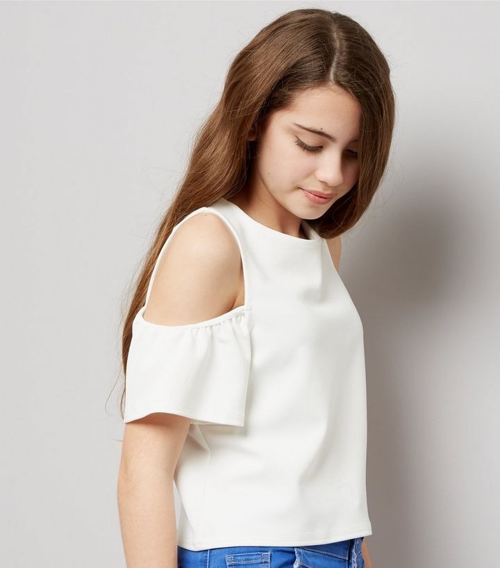 cd1b49eb9a6 Teens White Cold Shoulder Flutter Sleeve Top