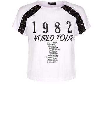 Teens White Raglan Sleeve World Tour Crop T-Shirt New Look