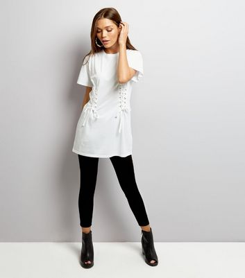 White Lace Up Corset Longline T-Shirt New Look