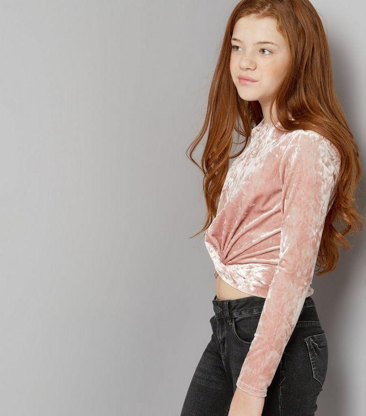 e177300f2fbde8 Teens Pink Velvet Long Sleeve Twist Front Crop Top