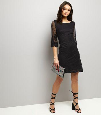 Mela Black Mesh Embroidered Sleeve Mini Dress New Look