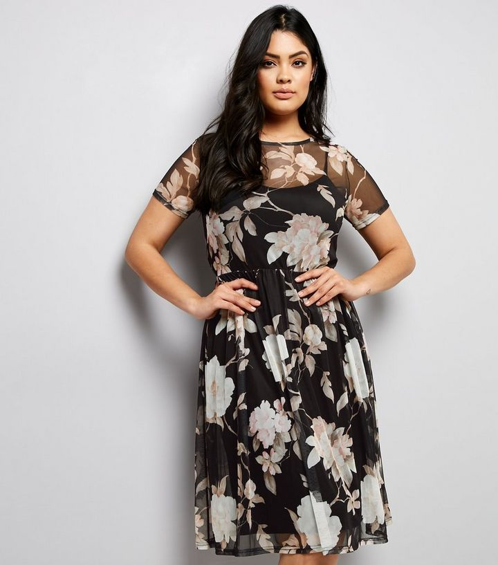 a2686744e6c Curves Black Floral Mesh Midi Dress | New Look