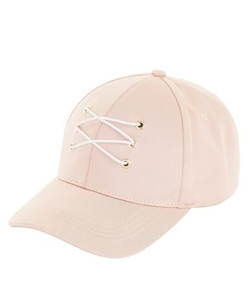 Pink Sateen Lace Up Front Cap New Look