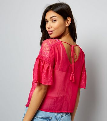 Pink Tie Back Frill Trim Chiffon Top New Look