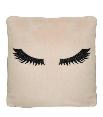 Cream Embroidered Eyelash Cushion New Look