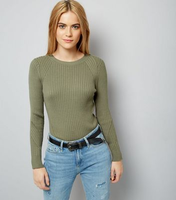 Olive Green Ribbed Jumper New Look