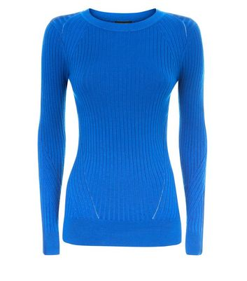 Blue Ribbed Jumper New Look