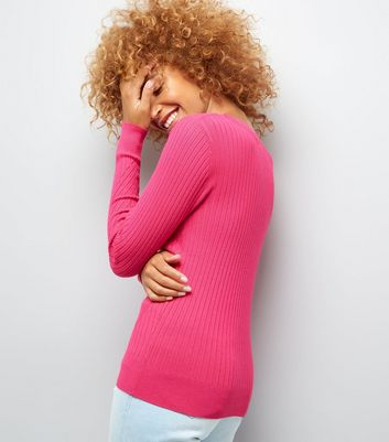 Bright Pink Ribbed Jumper New Look