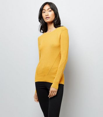 Yellow Ribbed Jumper New Look
