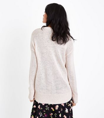 Shell Pink Longline Jumper New Look