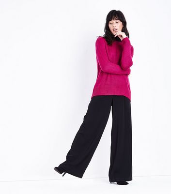 Deep Pink Longline Jumper New Look