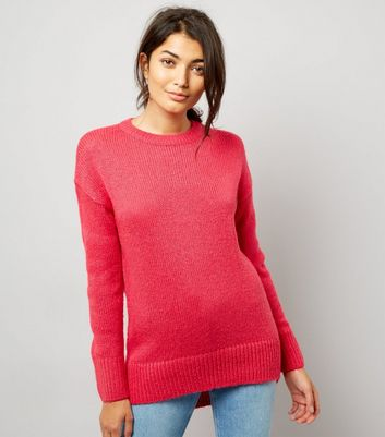 Bright Pink Longline Jumper New Look