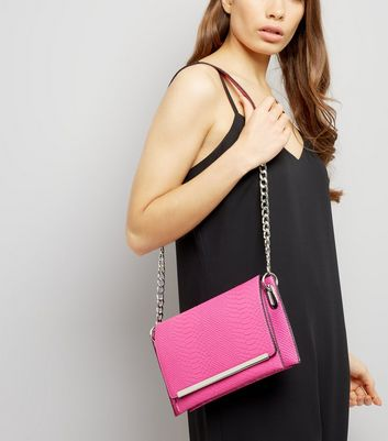 Pink Snakeskin Texture Cross Body Bag New Look