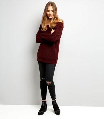 Burgundy Ribbed Bardot Neck Jumper New Look
