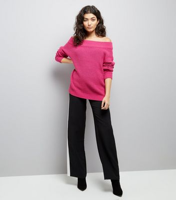 Deep Pink Ribbed Bardot Off the Shoulder Jumper New Look