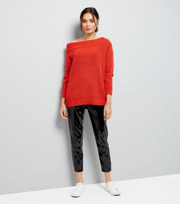 orange-ribbed-bardot-neck-jumper