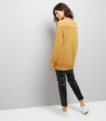 Mustard Yellow Ribbed Bardot Off the Shoulder Jumper New Look