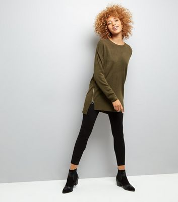 Khaki Zip Side Crew Neck Jumper New Look