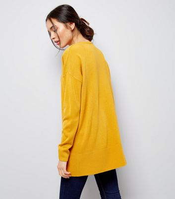 Yellow Zip Side Crew Neck Jumper New Look