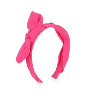 Bright Pink Chiffon Bow Front Hairband New Look