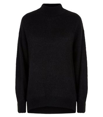 Black Longline Funnel Neck Jumper New Look