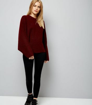 Burgundy Batwing Sleeve Jumper New Look