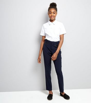 Teens Navy Pocket Trim Trousers New Look