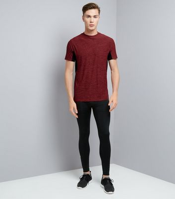 Red Space Dye Sports T-Shirt New Look