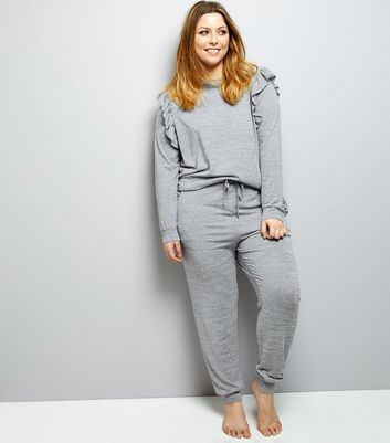 Curves Grey Frill Trim Lounge Suit New Look