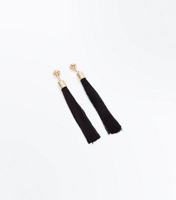 Black Tassel Thread Earrings New Look