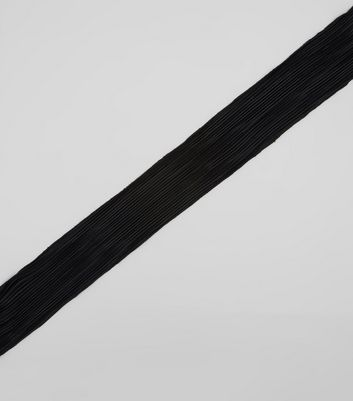 Black Plisse Necktie New Look