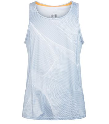Pale Grey Linear Print Drop Arm Sports Vest New Look