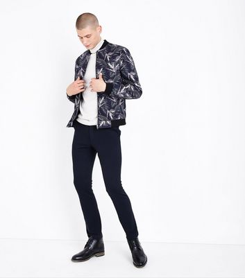 Navy Palm Print Tailored Bomber Jacket New Look