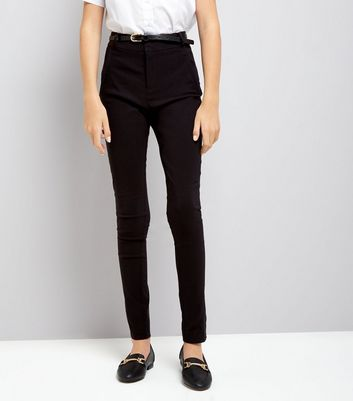 Teens Black Belted Skinny Trousers New Look